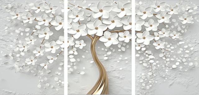 Imagem de Quadro Mosaico 3 Peças Cerejeira Branca E Dourado/árvore