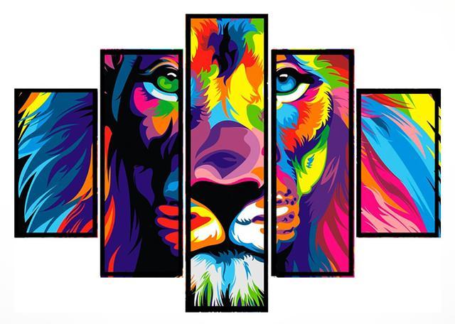 Imagem de Quadro Mosaico 5 Partes  Abstrato Leão Moldura Preta Art e Cia
