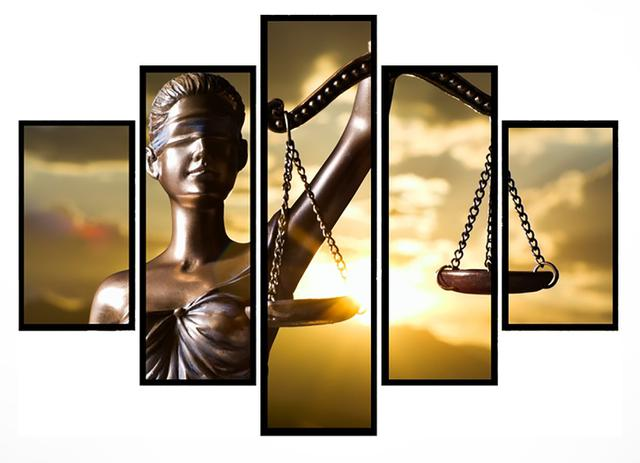 Imagem de Quadro Mosaico 5 Partes Balança Direito Moldura Preta Art e Cia
