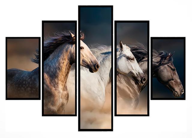 Imagem de Quadro Mosaico 5 Partes Cavalos Selvagens Moldura Preta Art e Cia