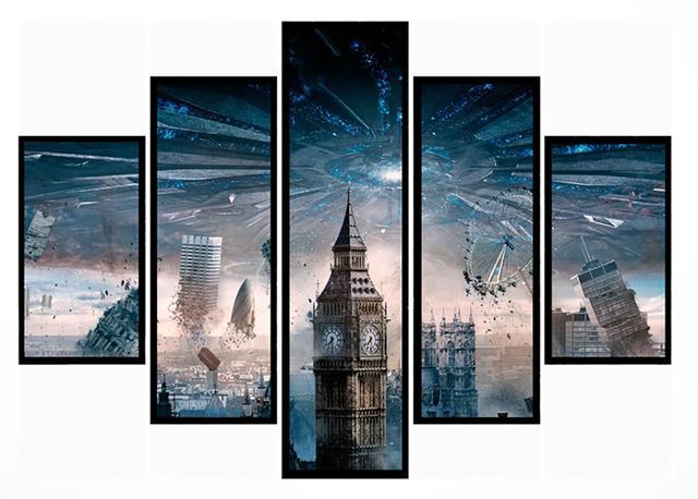 Imagem de Quadro Mosaico 5 Partes Londres Moldura Preta Art e Cia