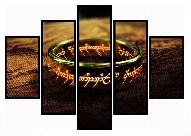 Imagem de Quadro Mosaico 5 Partes O Senhor Dos Anéis Moldura Preta Art e Cia