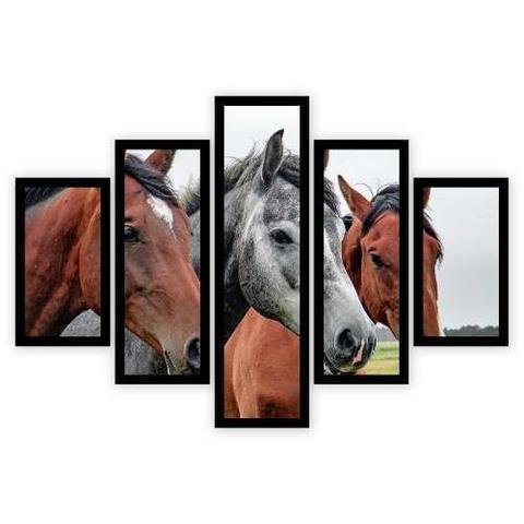 Imagem de Quadro Mosaico 5 Partes Os Cavalos