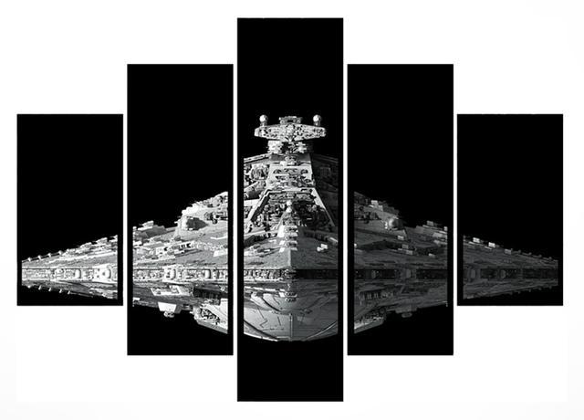 Imagem de Quadro Mosaico 5 Partes Star Wars Moldura Preta Art e Cia