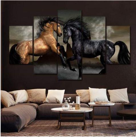 Imagem de Quadro mosaico 5 peças cavalo abstrato moderno painel para decoração de ambientes