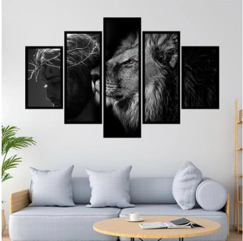 Imagem de Quadro mosaico 5 peças leão de judá preto e branco 3 abstrato moderno painel