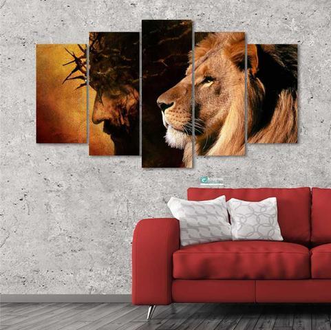 Imagem de Quadro Mosaico 5 peças Leão e Jesus Cristo Grande 129x64 cm
