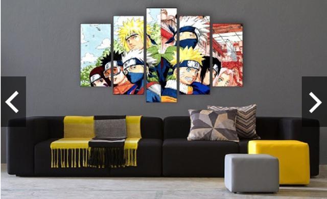 Imagem de Quadro mosaico 5 peças naruto abstrato moderno painel para decoração de ambientes
