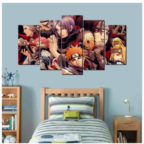 Imagem de Quadro mosaico 5 peças naruto akatsu abstrato moderno painel para decoração de ambientes