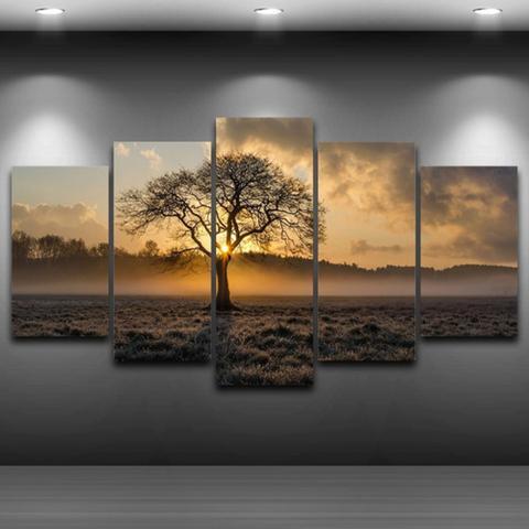 Imagem de Quadro Mosaico 5 Peças Nascer Do Sol Paisagens Naturezas