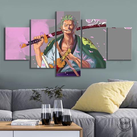 Imagem de Quadro Mosaico 5 peças ONE PIECE Roronoa Zoro Wano Painel Decorativo Decoração de Interiores