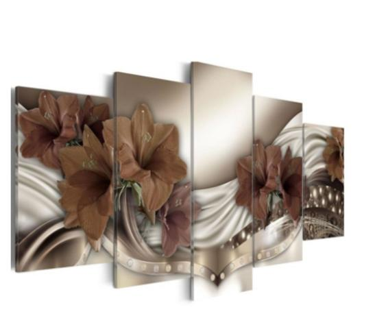 Imagem de Quadro mosaico 5 peças orquidea marrom abstrato moderno painel para decoração de ambientes