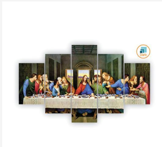 Imagem de Quadro mosaico 5 peças santa ceia abstrato moderno painel para decoração de ambientes