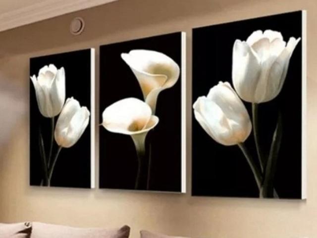 Imagem de Quadro Mosaico Flor Copo De Leite Kit 3peças 120x60