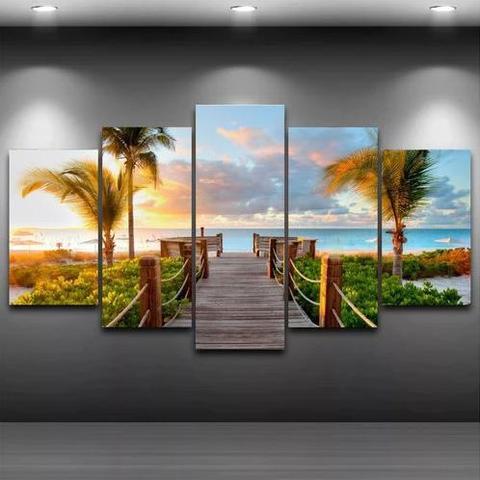 Imagem de Quadro Mosaico Paisagem Praia 5 Peças 1,20x0,70cm Ref 18