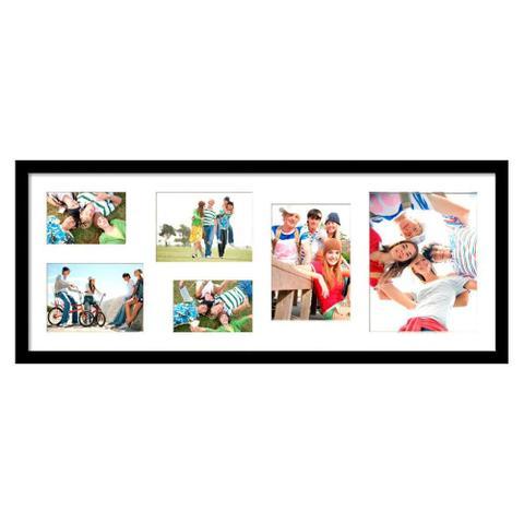 Imagem de Quadro Painel de Fotos para 6 Fotos Branco c/ Preto 80x30cm