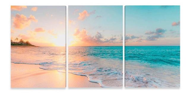 Imagem de Quadro Praia Mar Por Do Sol 120x60 Mosaico Para Tela