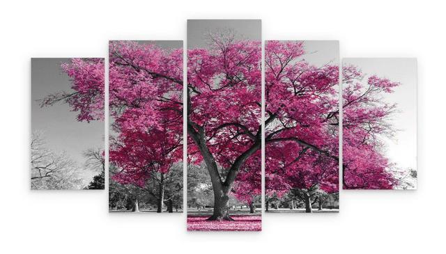 Imagem de quadros decorativos 5 peças arvore rosa cerejeira ipe rosa