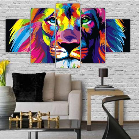 Imagem de Quadros Decorativos Mosaico MDF Leão Colorido 115x60cm