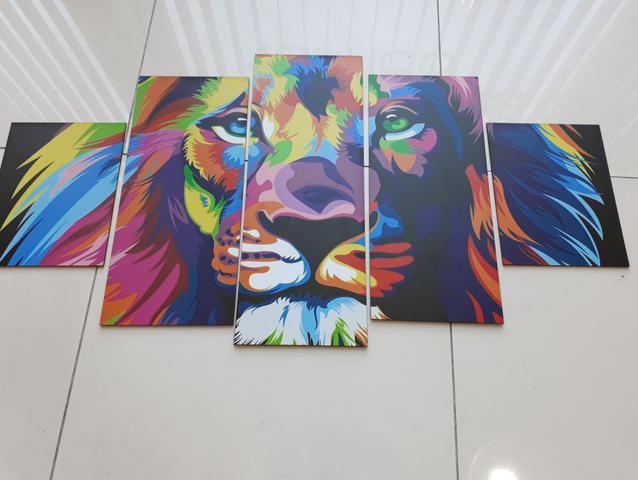 Imagem de Quadros Decorativos Mosaico MDF Leão Judá Colorido 115x60cm