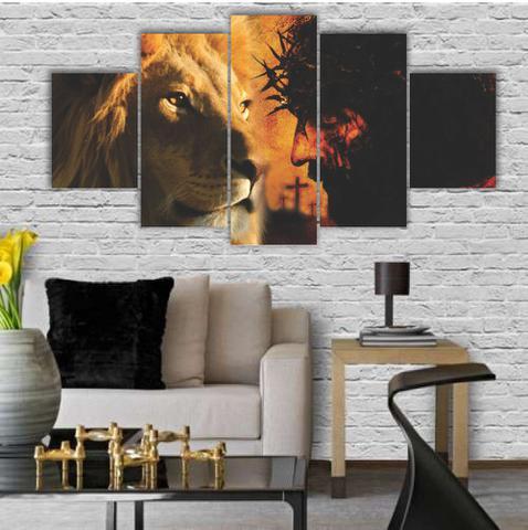 Imagem de Quadros Decorativos Mosaico MDF Leão Judá Cristo + Cruz Centro 115x60cm