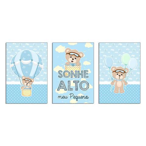 Imagem de Quadros Decorativos Ursinho Baloeiro kit 3-20x30cm Azul Infantil Criança Bebê, Leve, fácil e prática instalação 6mm