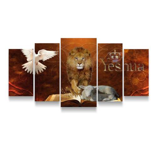 Imagem de Quadros mosaico leão de judá 5 peças med. 120x60 ps 2mm adesivo fosco impressão fotografica