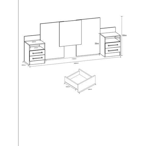 Imagem de Quarto Casal Completo Gênova com Guarda Roupa, Cômoda e Cabeceira com Criado Atualle Móveis Canelato Rústico