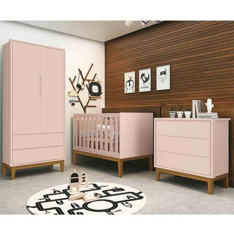 Imagem de Quarto de Bebê Classic Retrô Com Guarda Roupa 2 Portas + Cômoda + Berço Mini Cama - Reller
