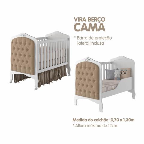 Imagem de Quarto de Bebê Com Berço Mini Cama Harmonia com Capitonê e Guarda Roupa Infantil Encanto Branco Permóbili Móveis