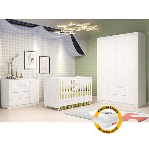 Imagem de Quarto de Bebê  com Guarda Roupa 4 Portas + Cômoda Helena + Berço Mini Cama - EM Moveis