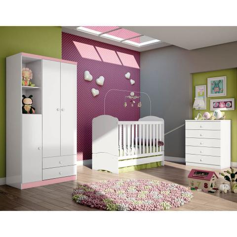 Imagem de Quarto de Bebê Completo com Berço, Cômoda e Guarda-roupa Henn Bala de Menta - Branco