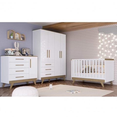 Imagem de Quarto de Bebê Completo com Cômoda, Berço e Guarda Roupa Kakau Espresso Móveis Branco/Carvalho