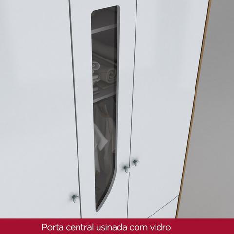 Imagem de Quarto de Bebê Completo com Guarda Roupa 3 Portas, Cômoda e Berço Mini Cama Benjamin Siena Móveis Rústico/Branco