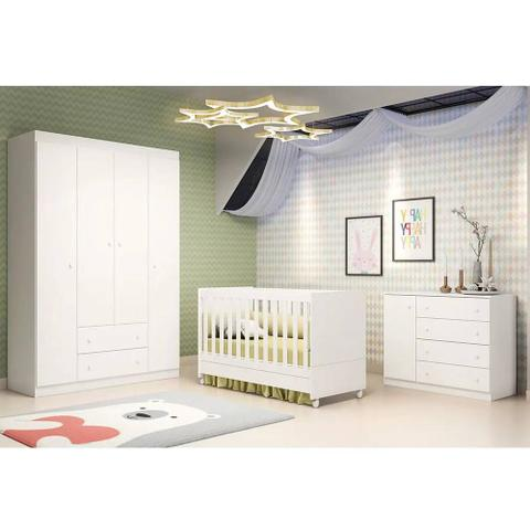 Imagem de Quarto de Bebê - Guarda Roupa 4 Portas + Cômoda Ana Helena + Berço Mini Cama - EM Moveis