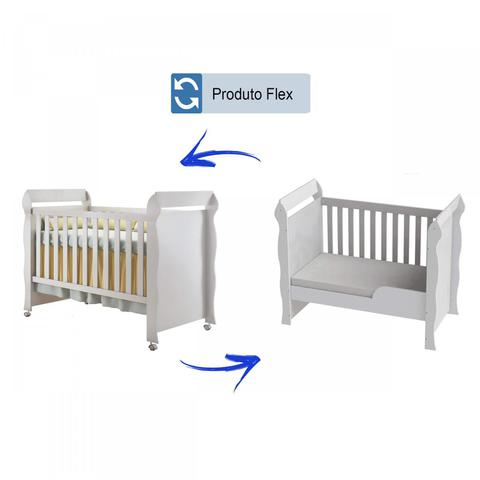 Imagem de Quarto de Bebê Guarda Roupa 4 Portas, Cômoda Fraldário e Berço Mirelle Carolina Baby Branco Brilho