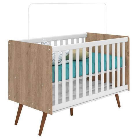 Imagem de Quarto de Bebê Retrô Carvalho Rústico TOQ Branco com Colchão - Qmovi