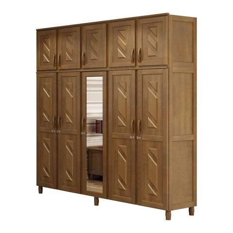 Imagem de Quarto de Casal Completo com 2 Criados Mudos, Cômoda, Cama de Casal e Guarda Roupa 10 Portas Móveis Cavazotto Imbuia