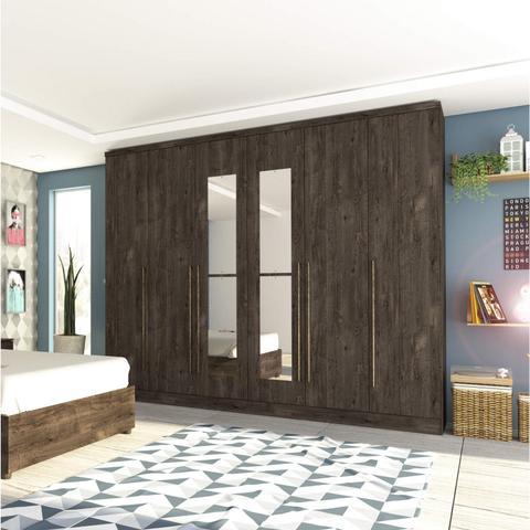 Imagem de Quarto de Casal Completo com Cama e Guarda Roupa com Espelho Siena Móveis Cumaru Rustic