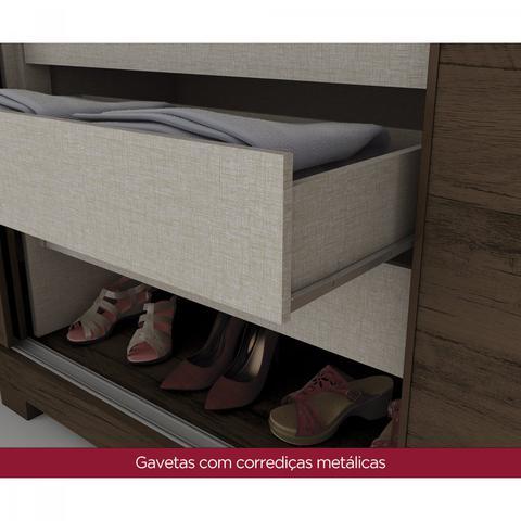 Imagem de Quarto de Casal Completo com Cômoda, Cabeceira e Guarda Roupa Amaro 03  Café