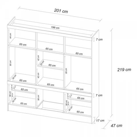 Imagem de Quarto de Casal Completo com Guarda Roupa 10 Portas, Cômoda e Cabeceira com 2 Criados Mudos  Ébano