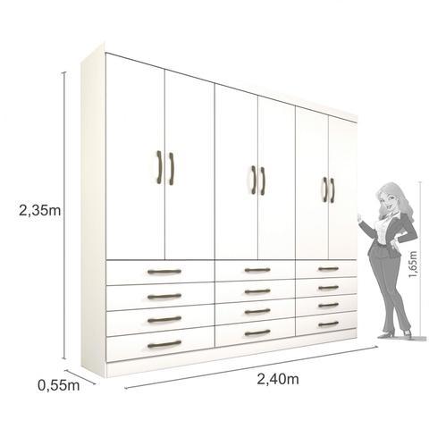 Imagem de Quarto de Casal Completo com Guarda Roupa, Cama Box e Criado Mudo Joy Siena Móveis Branco/Amarelo