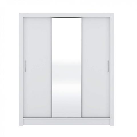 Imagem de Quarto de Casal Completo com Guarda Roupa com Espelho, Cabeceira com 2 Criados Mudos e Cômoda Clean Siena Móveis Branco