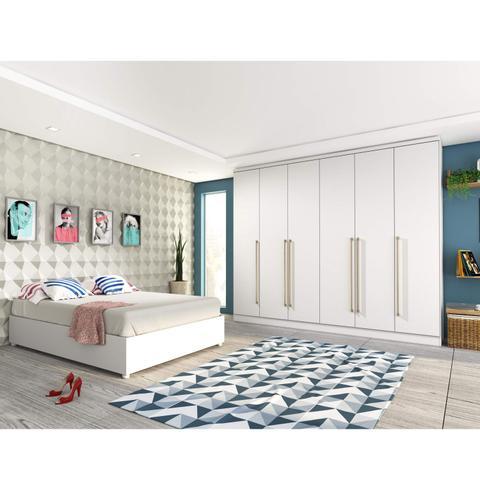 Imagem de Quarto de Casal Completo com Guarda Roupa e Cama Siena Móveis Neve