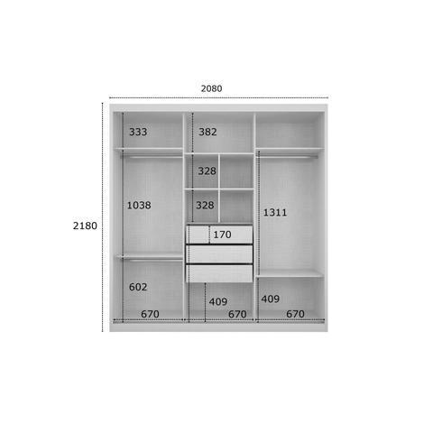 Imagem de Quarto de Casal Completo MadeiraMadeira com Criado Mudo, Guarda Roupa 3 Portas e Cama 401378 Freijó Dourado/Branco