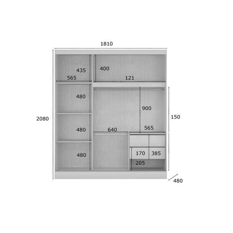 Imagem de Quarto de Casal Completo MadeiraMadeira com Guarda Roupa 2 Portas 2 Gavetas e Cabeceira com 1 Criado Mudo 401536 Canela
