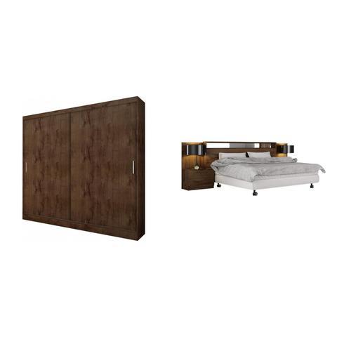 Imagem de Quarto de Casal Completo MadeiraMadeira com Guarda Roupa 2 Portas 2 Gavetas e Cabeceira com 2 Criados Mudos 401583 Canela