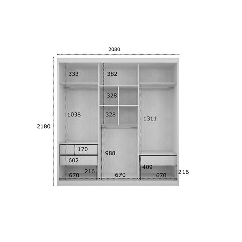 Imagem de Quarto de Casal Completo MadeiraMadeira com Guarda Roupa 3 Portas 3 Gavetas e Cabeceira com 1 Criado Mudo 401543 Branco