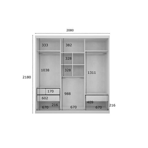 Imagem de Quarto de Casal Completo MadeiraMadeira com Guarda Roupa 3 Portas 3 Gavetas e Cabeceira com 2 Criados Mudos 400921 Canela