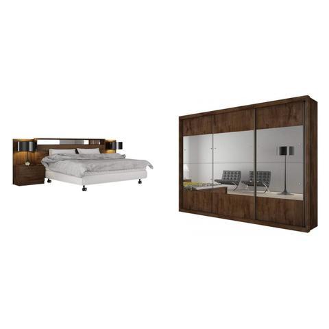 Imagem de Quarto de Casal Completo MadeiraMadeira com Guarda Roupa 3 Portas 3 Gavetas e Cabeceira com 2 Criados Mudos 401617 Canela